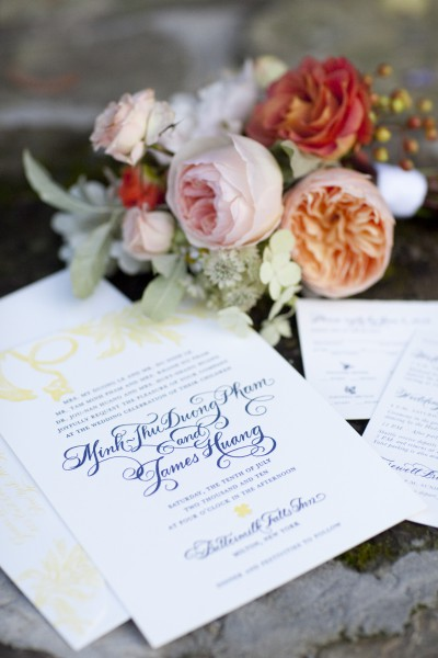 yellow and navy wedding invitations