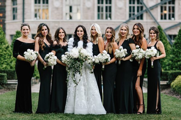 bridesmaids in black gowns